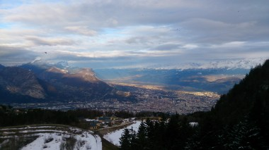 Sun setting over Grenoble, looking down from the old ski jump that is from the 1968 winter olympics
