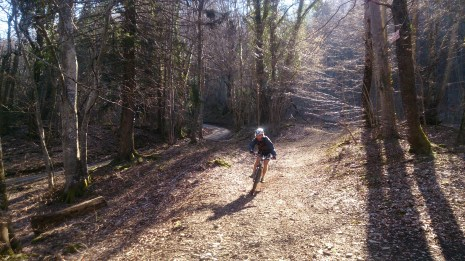 Flying out of the gravel shute before the sharp little uphill