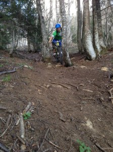 Into the wooded section, just avoiding one!