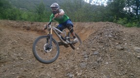 About the only decent photo I got of me hitting a berm.