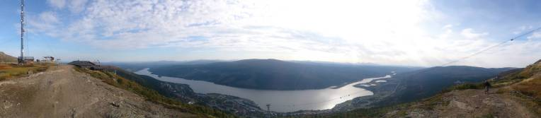 Big panorama from about halfway down the mountain shows the valley below