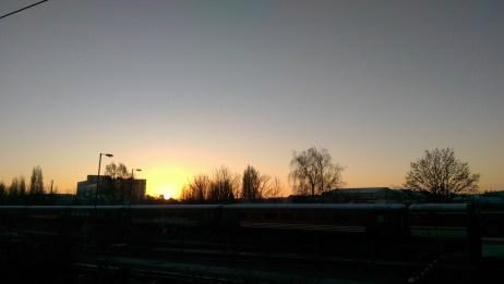Sunrise on the early morning train from London Paddington