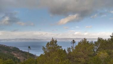 wild sea near trondheim from bymarka hdr blue sky