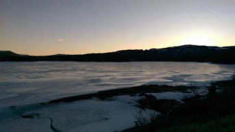 The sun setting over the frozen lake, we still had a good 7/8km to get to the cabin from here