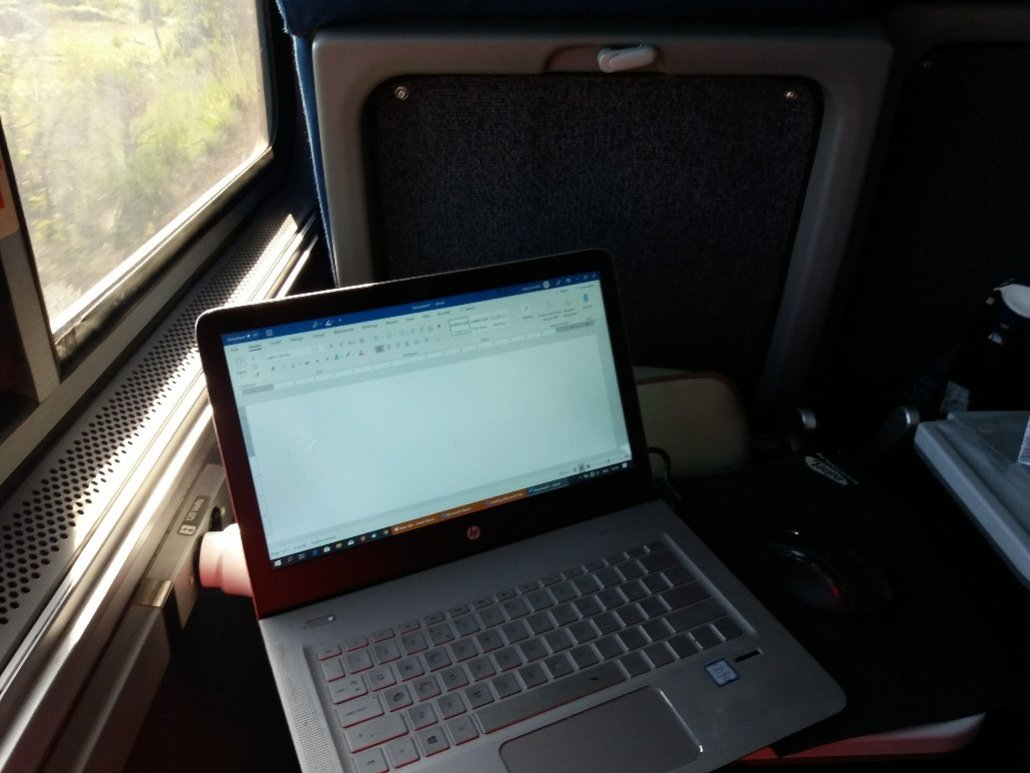 Seat aboard the Empire Builder train from St Paul to Milwaukee