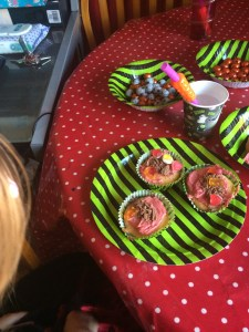 We had icing, chocolate flakes and haribo to decorate home made vanilla cupcakes.