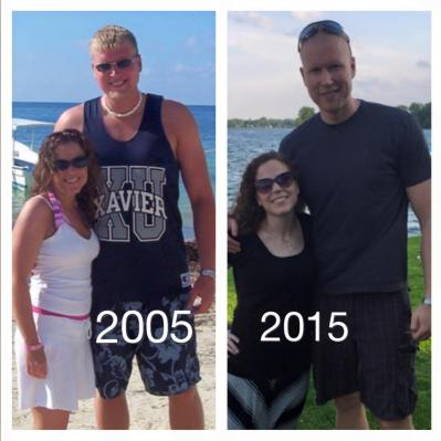 Me and my wife. On the left, pre-kids, fresh out of college. On the right, 10 years, two mortgages and two kids later. Lifting is the fountain of youth.