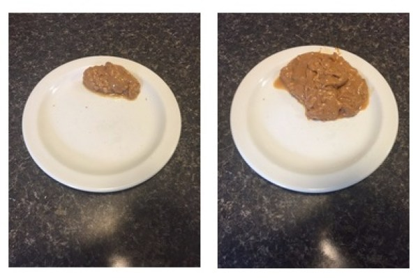 Serving - 2 tbs: 200 calories. Me size - 6 tbs: 600 calories.