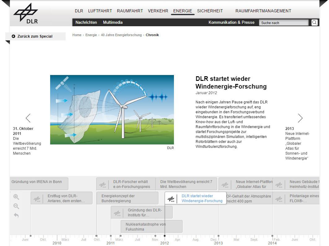 DLR Chronik 40 Jahre Energieforschung Screen Windernergie entwickelt von anyMOTION GRAPHICS Düsseldorf