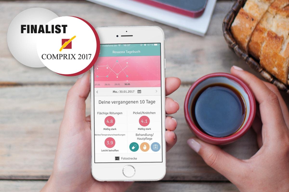 COMPRIX 2017, anyMOTION Digitalagentur, Digital erfolgreich, Galderma, Rosacea-tagebuch, Rosacea-Tagebuch-App, Rosacea App