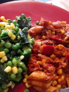 Tuna Pasta Bake for Dinner. Loads of veg and super filling.