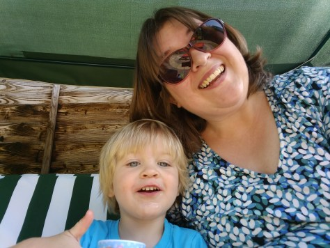 Mummy and son garden time