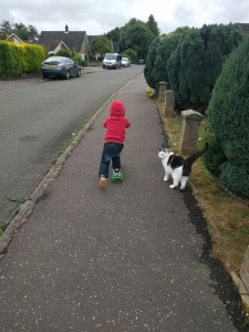 A Boy & His Cat out for Scoot