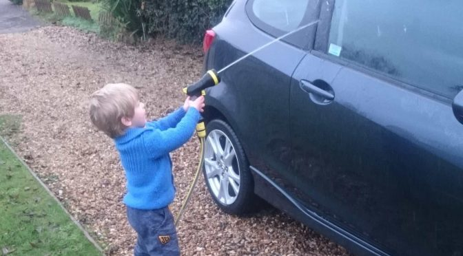 Basic Car Care with a Little Toddler Help