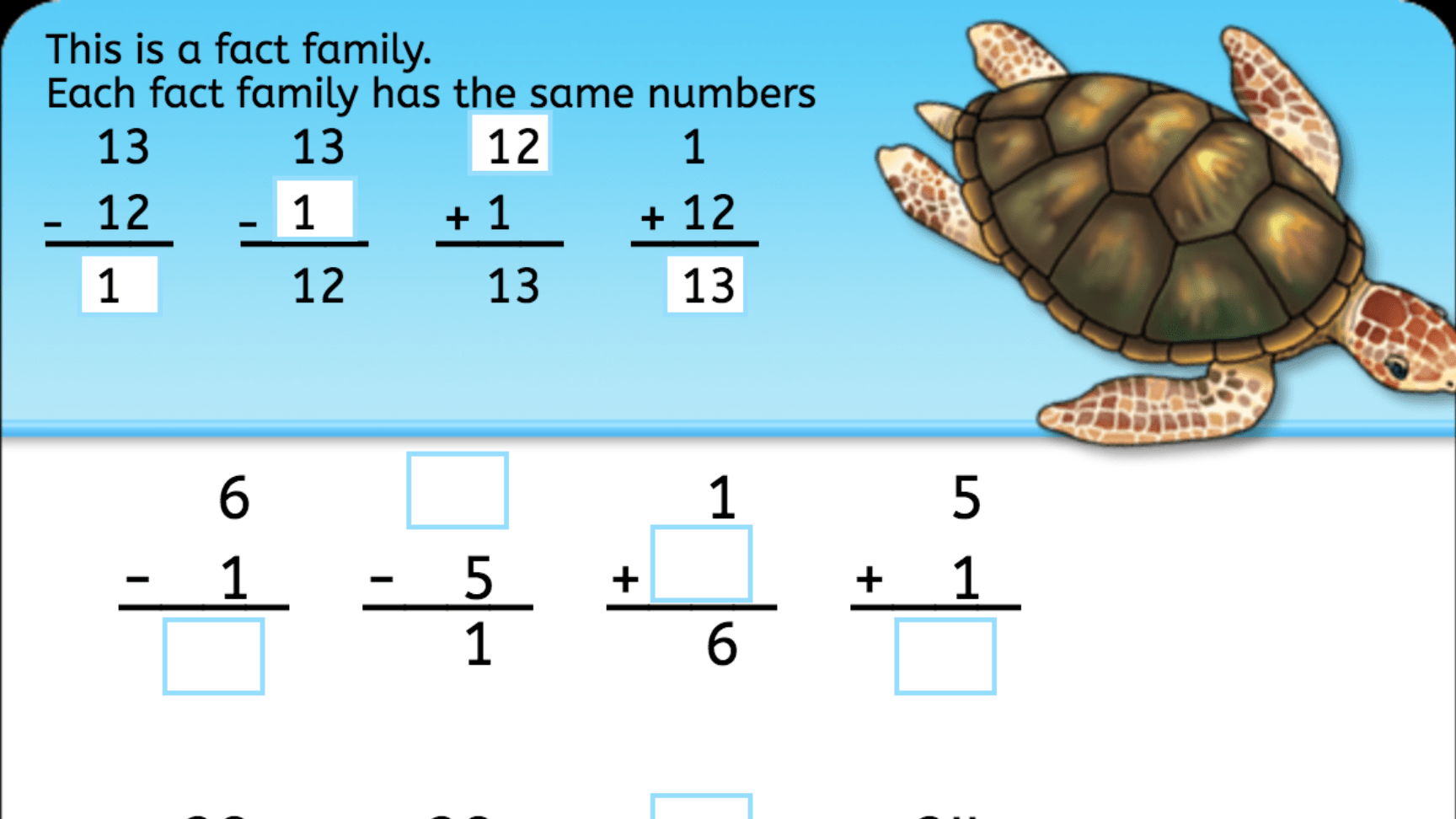 Subtraction Fact Family