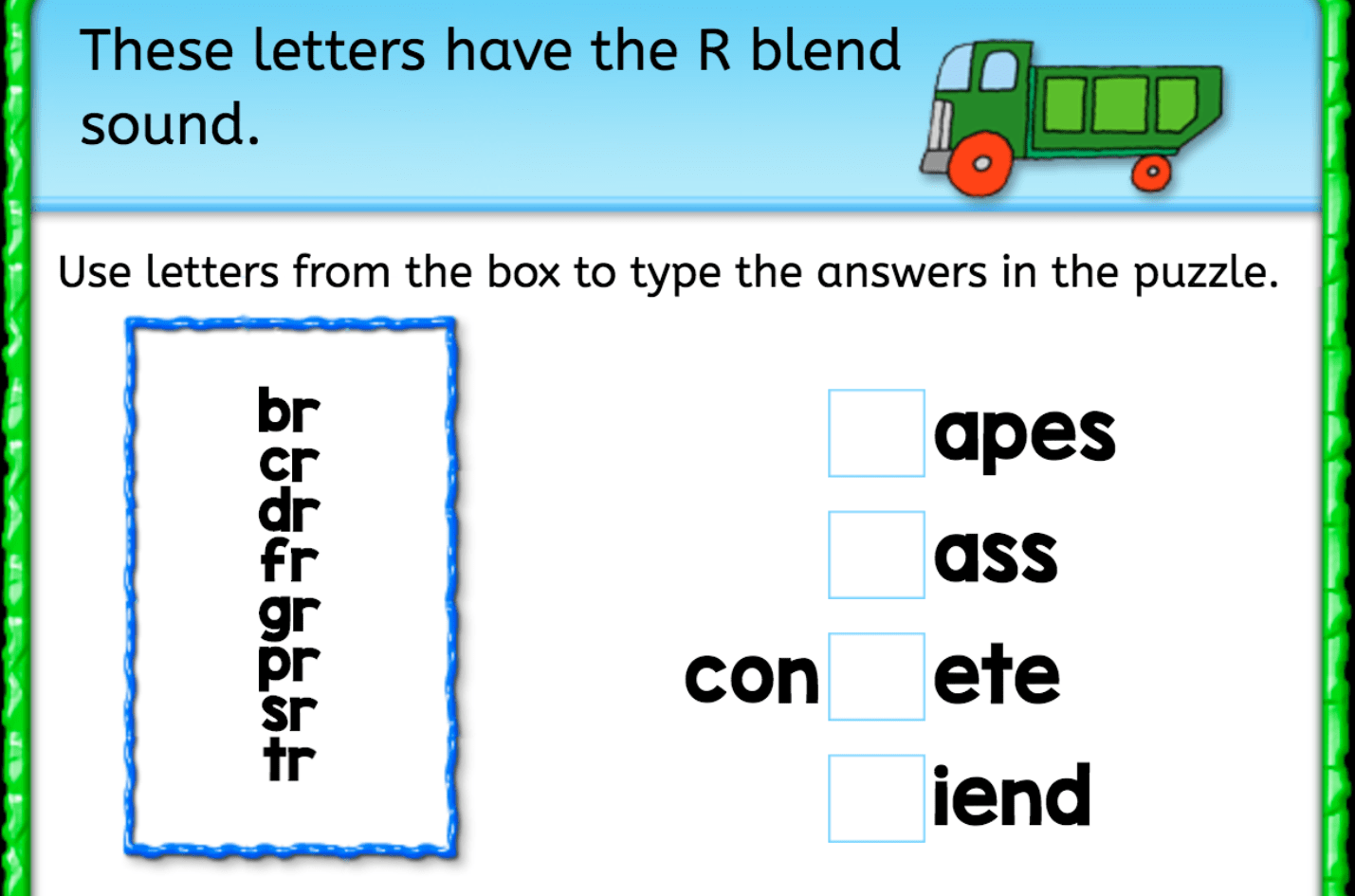 Finish The Word R Blend