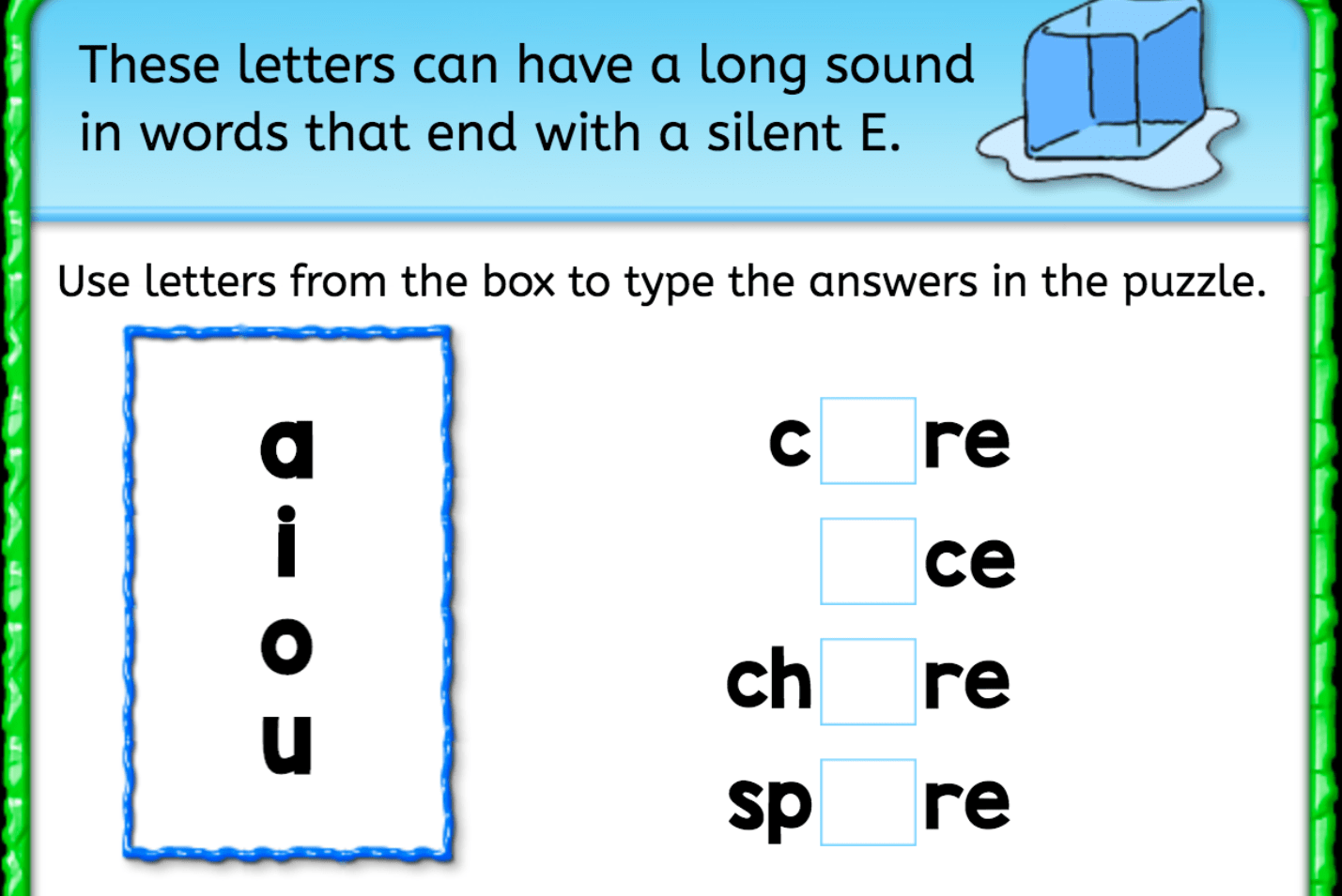 Finish The Word Silent E