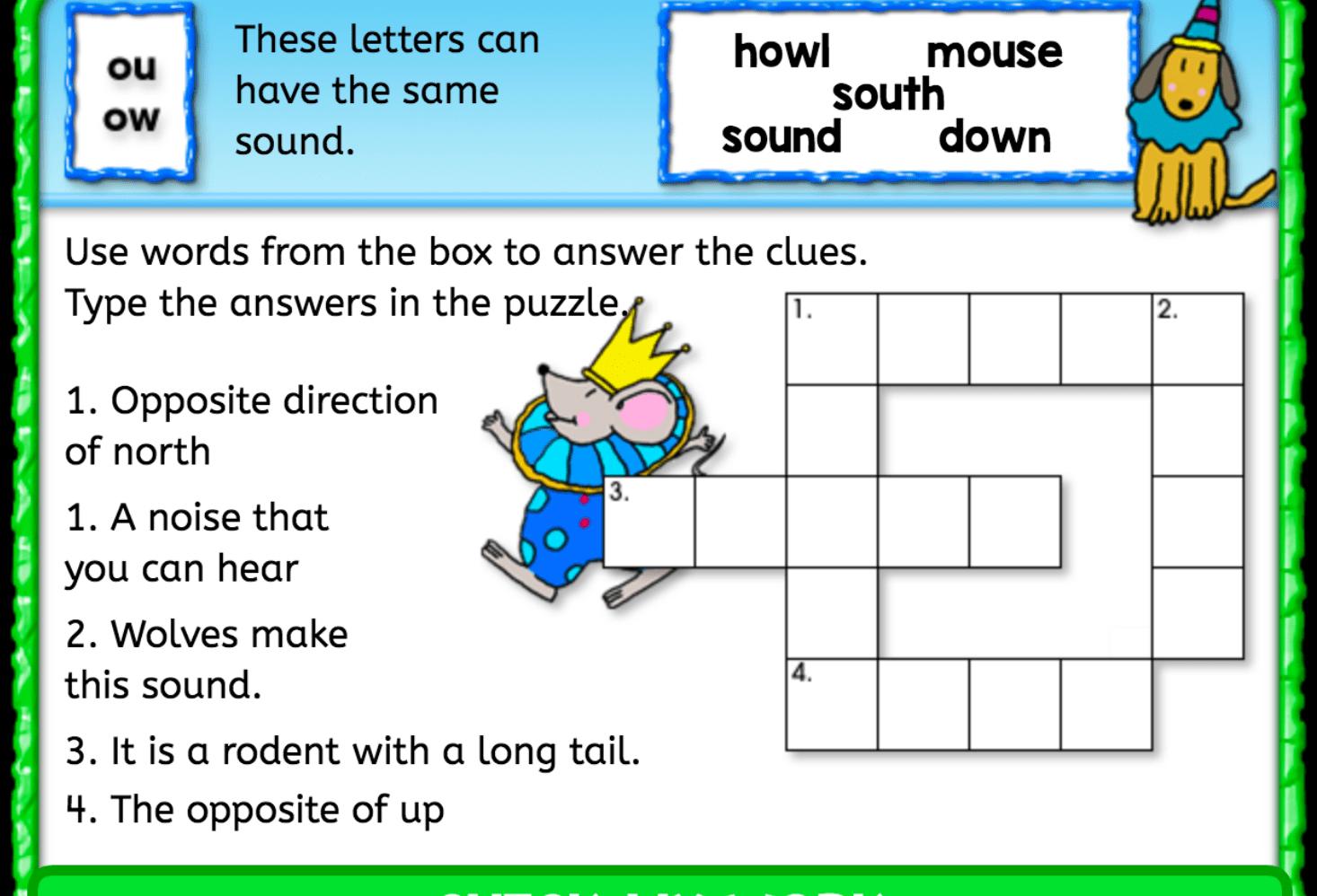Ou Ow Sound Crossword Puzzle