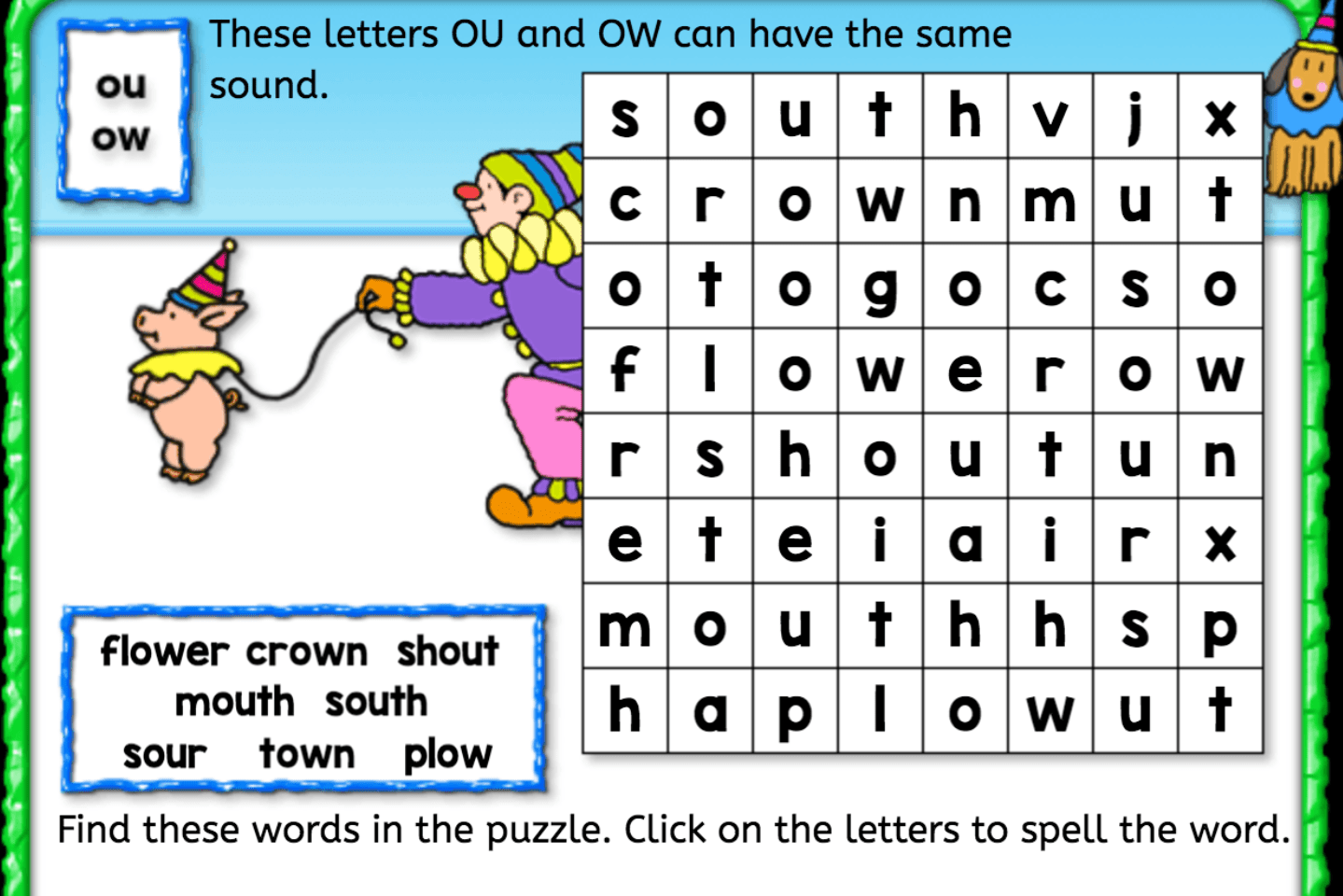 Word Search Ou Ow