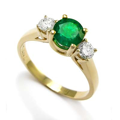 Anzor Jewelry 14k Yellow Gold Emerald Diamond
