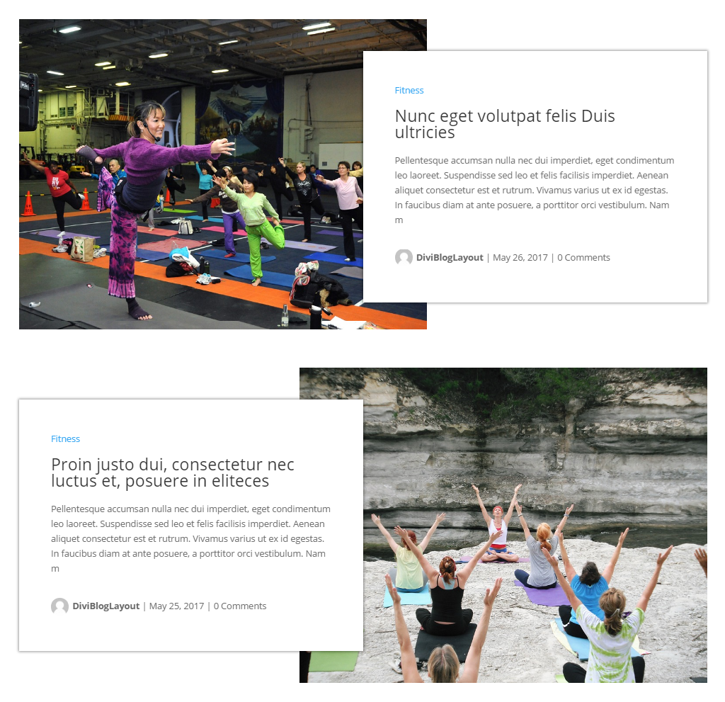 Divi Category Layout for Fitness Website Blog