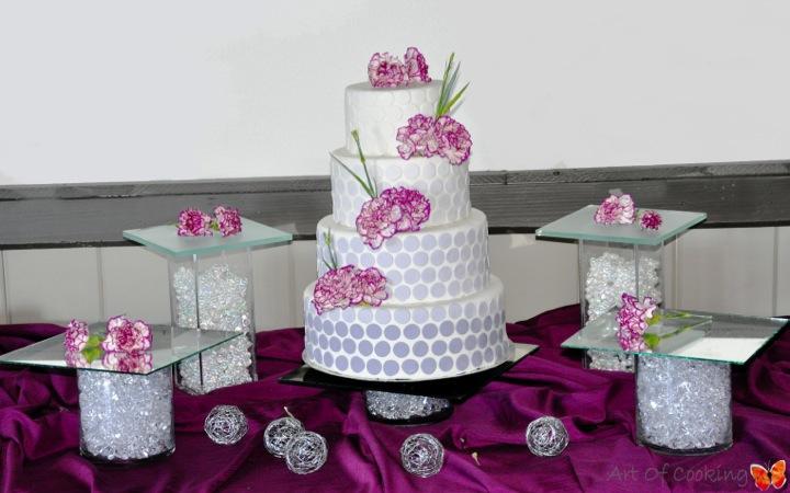 Blue Dots Wedding Cake With Purple Sweet Dessert Station Full