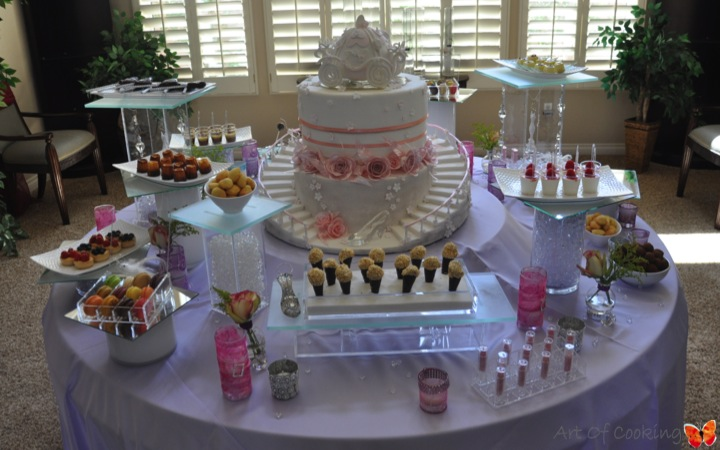 bridal shower cinderella cake and desserts station