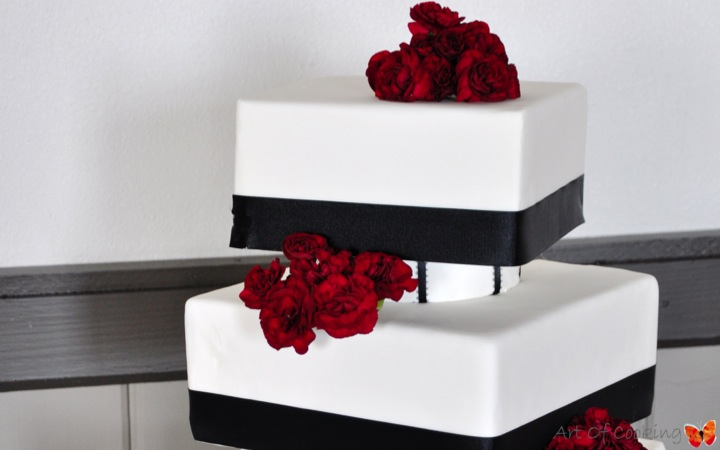 Modern Square White and Black Wedding Cake with fresh red flowers ...