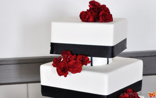Modern Edible Black Lace Three Tier Off White Fondant Custom Elegant Wedding Cake