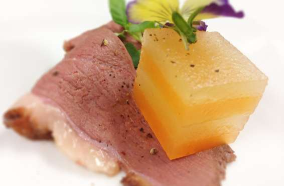 Catering Services Las Vegas sous-vide Compressed Melons Terrine and Duck Carpaccio