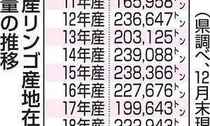19年産青森県産リンゴの在庫18万7千トン