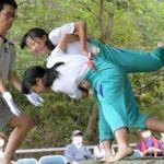 63回の歴史持つ合同相撲、閉校で最後/新郷村の西越小・野沢中