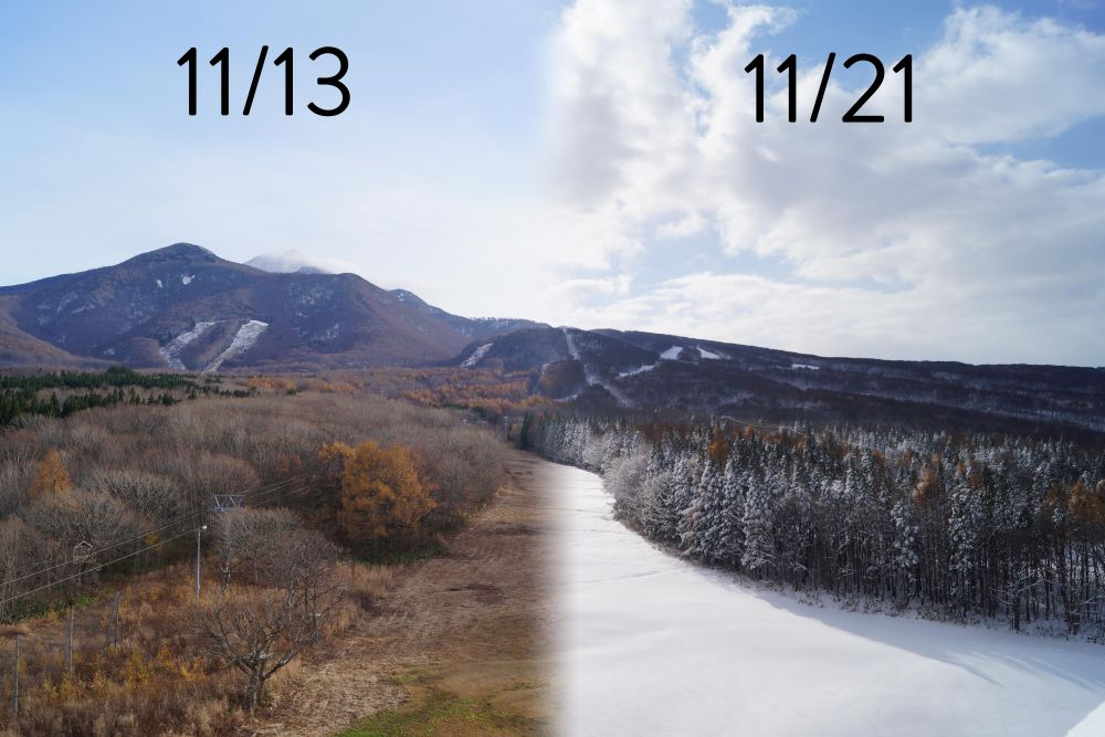 from fall to winter at Aomori Spring