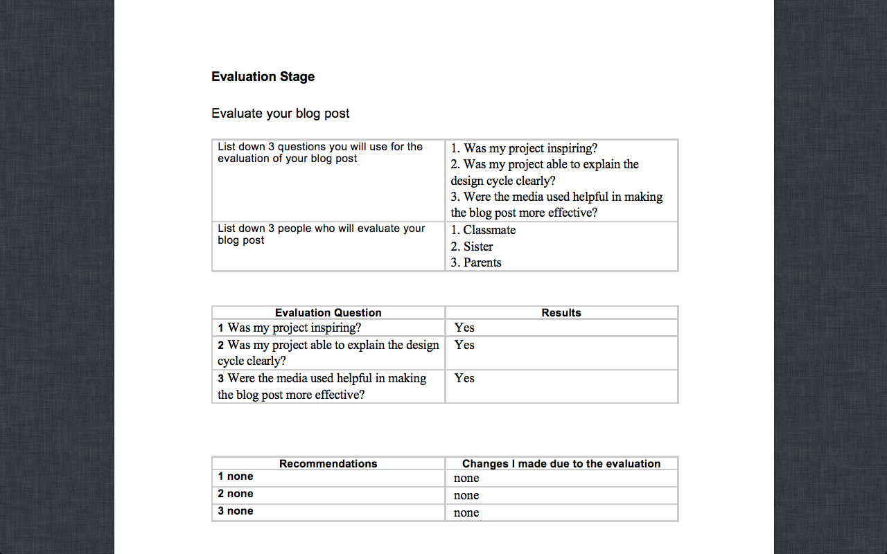Grade 8 Design Cycle Worksheets Examples
