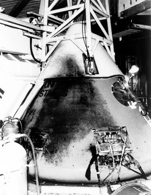 Here you can see the extent of damage to the Apollo 1 Command Module from this photograph taken after the fire.