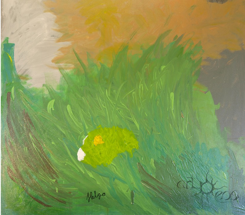 Helga Roch, Acryl auf Leinen, 100x100 cm, Eine Allergie gegen die Jugend