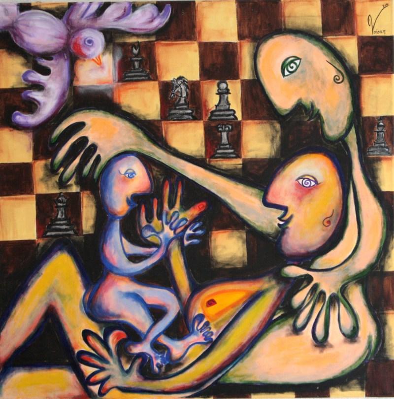 Maria Voican, Samstag in der Familie, Acryl und Ölpastel auf Leinwand, 100x120cm, 2010, [AOS] Magazine