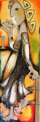 Maria Voican, waiting for the second one, Acryl und Ölpastel auf Leinwand, 50x150cm, 2010, [AOS] Magazine