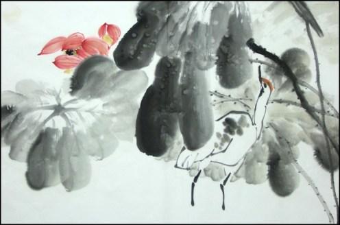 Yang qiaoling, Ink on Xuan Paper, Lotus4, Size (68x45cm)2015