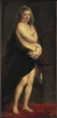 Helena Fourment-Das Pelzchen-Peter Paul Rubens-Siegen 1577-1640 Antwerpen- um 1636-1638, Eichenholz 176 x 83 cm © KHM-Museumsverband