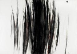 Meisterwerke der Sammlung Essl, Arnulf Rainer, Vertikalgestaltung, 1951, Ölkreide und Schwarzstift auf Papier, 70 x 100 cm, © Sammlung Essl, Foto Mischa Nawrata, Wien