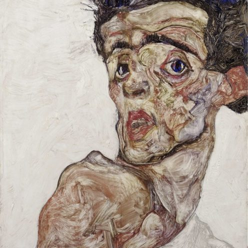 Egon Schiele, Selbstbildnis mit hochgezogener nackter Schulter, LEOPOLD MUSEUM, Art On Screen - [AOS] Magazine - NEWS