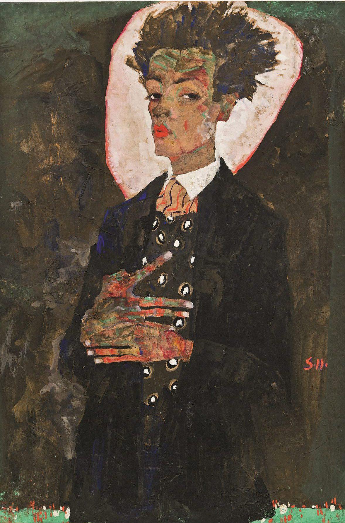 Egon Schiele, Selbstbildnis mit Pfauenweste, Art On Screen - News - [AOS] Magazine