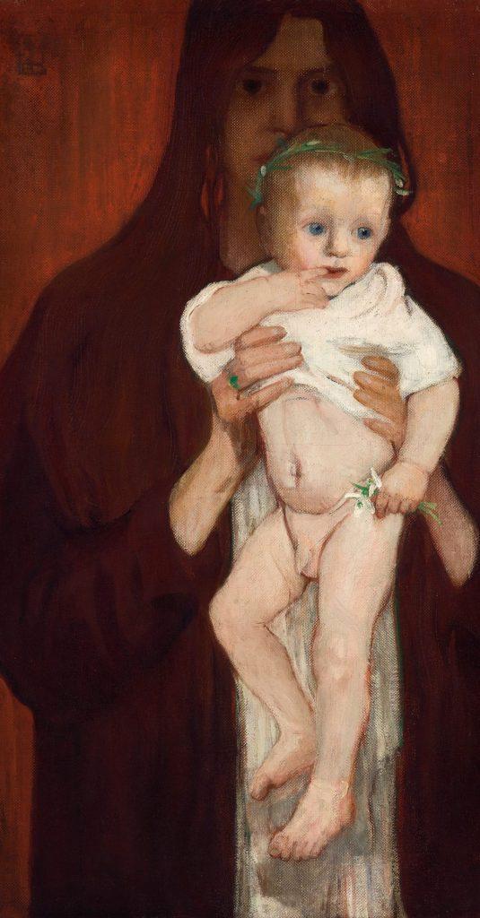 Stadt der Frauen, Elena Luksch-Makowsky, Ver Sacrum. Selbstbildnis mit Sohn Peter, 1901, Foto: Johannes Stoll © Belvedere, Wien