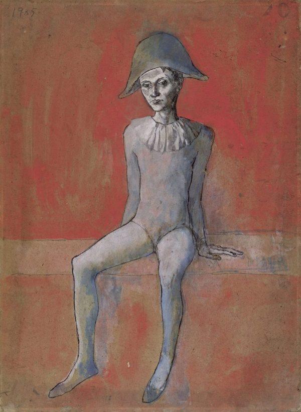 Picasso in Blau und Rosa, PABLO PICASSO, ARLEQUIN ASSIS SUR FOND ROUGE, Fondation Beyler