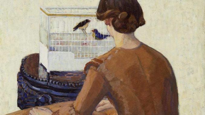 BRONCIA KOLLER-PINELL - Junge Frau, Wien um 1900, Aufbruch in die Moderne, BRONCIA KOLLER-PINELL, Junge Frau vor Vogelkäfig, Ausstellung in Wien, Leopold Museum