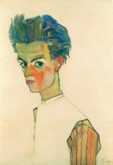 Egon Schiele - Selbstbildnis, Wien um 1900, Aufbruch in die Moderne, Egon Schiele, Selbstbildnis in gestreiftem Hemd, Ausstellung in Wien, Leopold Museum