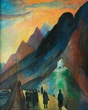 MARIANNE VON WEREFKIN, Das Duell, Tempera auf Papier, Deutscher Expressionismus, Ausstellung im Leopold Museum, Expressionistische Kunst aus Deutschland