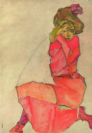 EGON SCHIELE, Kniende in orange-rotem Kleid