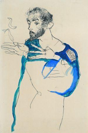 Egon Schiele, Gustav Klimt im blauen Malerkittel, 1913
